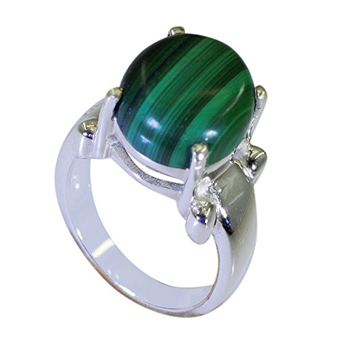 Jewelryonclick Malachite Silver Promise Ring For Women Prong Style Jewelry In Size 5,6,7,8,9,10,11,12 ()