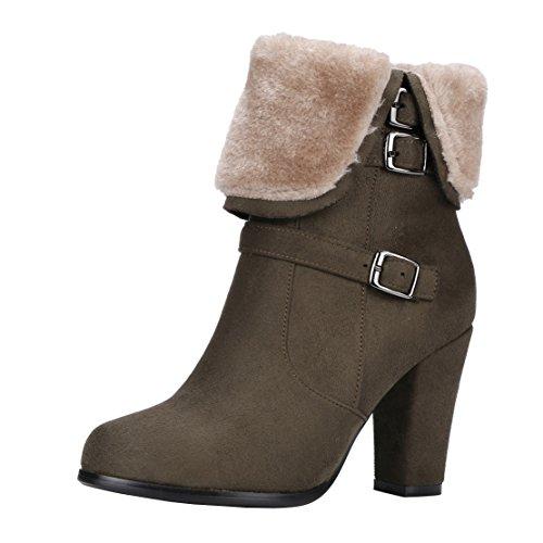 AIYOUMEI Damen Blockabsatz Ankle Boots mit Reißverschluss High Heels Stiefeletten mit Schnalle Xnv9cE