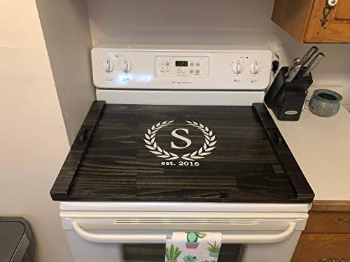 Rustic Stove Top Cover, Wooden Stove Tray, Monogram Stove Cover, Wood Cook Top Tray, Decorative Tray