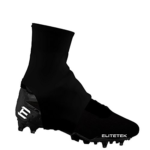 EliteTek Cleat Covers, Spat Wrap, Shoelace Cover, 7v7 Swag - Youth & Adult Sizes (Large, Black)