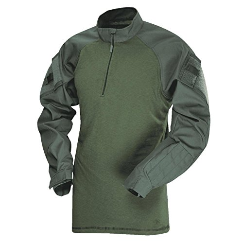 (Tru-Spec 1/4 Zip Tactical Response Combat Shirt 50/50 Nylon/Cotton Rip-Stop, Olive Drab/Olive, XL-Regular)