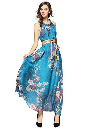 Joy EnvyLand Plus Size Floral Evening Gown Prom Cocktail Party Summer Maxi Dress,Blue,Large (Plus Size Fairy Dress)