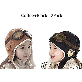 CTKcom 2-Pack Pilot Aviator Fleece Warm Hat Cap with Earmuffs for Kids (Coffee+Black) 6ea0e76d5e15
