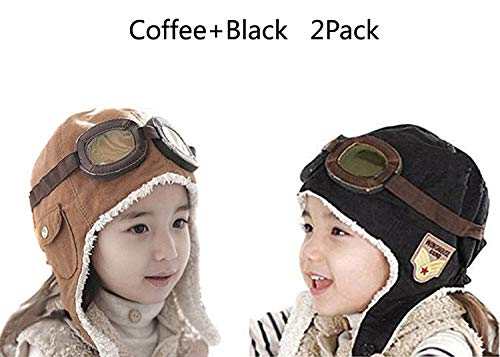 CTKcom 2-Pack Pilot Aviator Fleece Warm Hat Cap with Earmuffs for Kids(Coffee+Black)