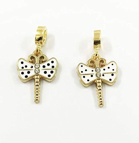 2pcs Dragonfly European Gold Pendant CZ Charm Beads Fit Necklace Bracelet DIY A1 -