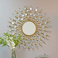 Furnish Craft Antique Sunburst Multiple Mirror Golden Mirror for Home Decor, Living Room, Bedroom