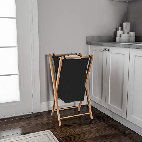 Finish Linen Natural (Lavish Home Foldable Bamboo Laundry Hamper-Lightweight Space Saving Collapsible X-Frame Linen Sorter with Natural Finish for Home or Dorm)