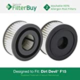 FilterBuy 2 Dirt Devil F15 (F-15) Washable HEPA Replacement Filters, Part # 1-SS0150-000, 3-SS0150-001. Designed by to fit Dirt Devil Extreme Quick Models 084505, 084506, 084507
