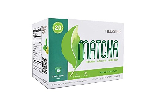 NuZee Matcha 2.0 Single Serve Cups 10ct High In Antioxidants Increases Natural Energy & Mental Focus -