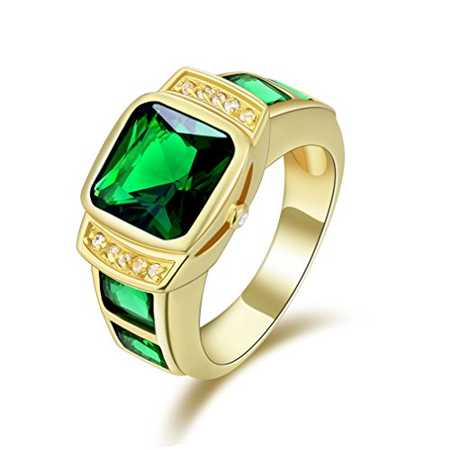 - Suohuan Men's Fashion Vintage Yellow Gold Plated Big Square Stone Cz Engagement Promise Wedding Ring Band for Him Green Size 13