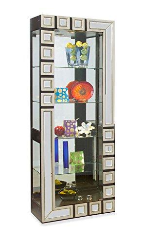 s Curio/Display Pier Cabinet, Silver/Ebony ()
