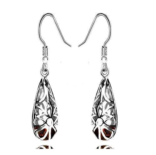 925 Sterling Silver Hoops Filigree Dangle Earrings for Women (Brown) by Politeny (Image #3)'