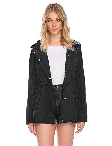Asatr Women Casual Hooded Long Sleeve Zipper Lightweight Waterproof Raincoat Jacket Black (Casual Hooded Long Sleeve)