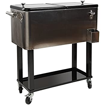 Wonderful HIO 80 Qt Outdoor Patio Cooler Table On Wheels, Rolling Cooler With Shelf,  Stainless