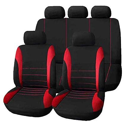 Fundas para asientos de automóvil - 1 juego de 9 piezas Cubiertas de asientos universales integrales para automóviles, reposacabezas delantero trasero ...
