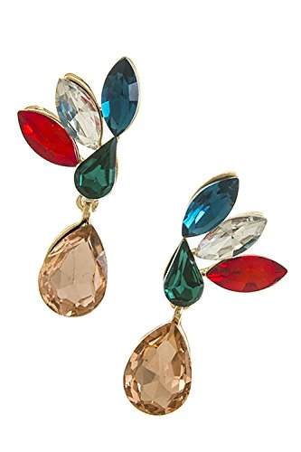 KARMAS CANVAS OVAL AND TEARDROP EARRINGS (Pink/Multi) (Necklace Crislu Drop)