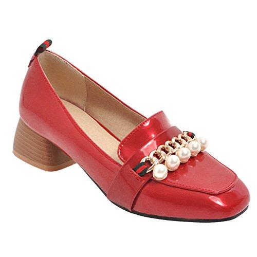 Latasa Dames Gerolde Vierkant-teen Dikke Loafers Schoenen Rood
