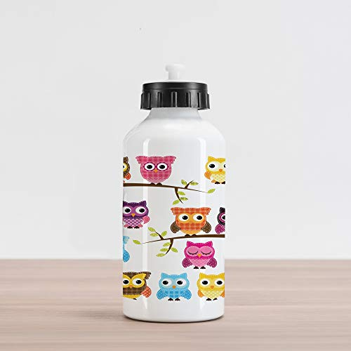 (Lunarable Owls Aluminum Water Bottle, Owls on Tree Branches Night Time Jungle Wildlife Patchwork Quilt Style Design Clipart, Aluminum Insulated Spill-Proof Travel Sports Water Bottle, Multicolor)