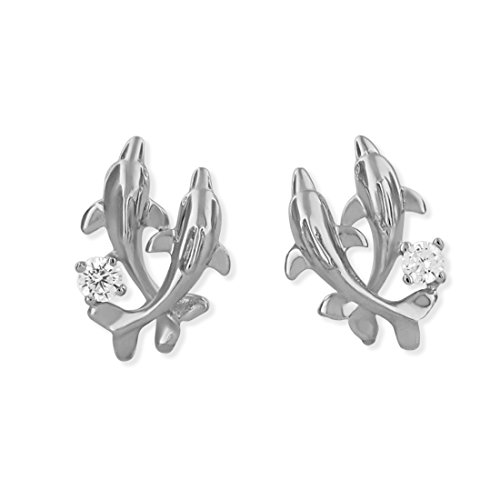 - Rhodium Plated Sterling Silver Double Dolphin Stud Earrings