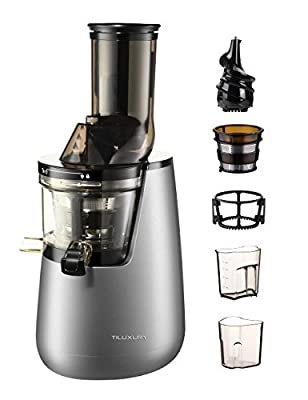 "Slow Masticating Juicer extractor by Tiluxury with Low Speed Wide Chute Anti-Oxidation Vertical Cold Press Juicer (40 RPMs, 3"" Big Mouth)"