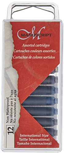 Manuscript Pen MC0461AS Fountain Pen Ink Cartridges, Black/Blue/Sepia, - Ink Pen Fountain 12 Cartridges