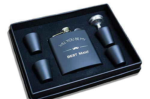 Will You Be My Best Man Flask Box Set- Best Man Proposal Gifts- Whiskey Flasks For Asking Best Men - Extra Thick 5mil #304 Stainless Steel, Laser Engraved, Leak Proof Kit Bestman 652