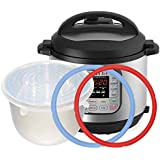 2pcs Silicone Sealing Ring&1 Inner Pot Lid Combo compatibility Instant Pot ,Seal Lasting & BPA-free Made By Pure Silicone , Fits IP-DUO50/60 ,IP-LUX50/60 ,IP-CSG50/60 & Smart-60 , By Treasuree