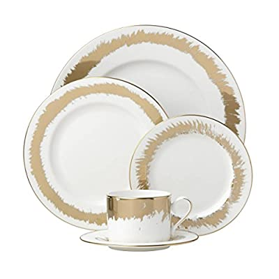 Lenox Casual Radiance 5-piece Place Setting, 4.05 LB, Metallic - Material: White Bone China Dishwasher Safe Accented in 24 karat gold - kitchen-tabletop, kitchen-dining-room, dinnerware-sets - 41H4E8d8BrL. SS400  -