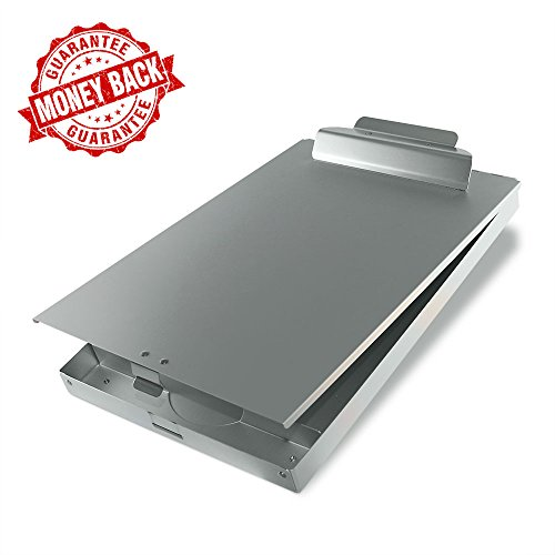 SteelClip #1 Aluminum Storage Clipboard - HIGHEST QUALITY for everyday use - Aluminum Forms Holder with Top Hinged Opening and Self-Locking Latch by SteelClip