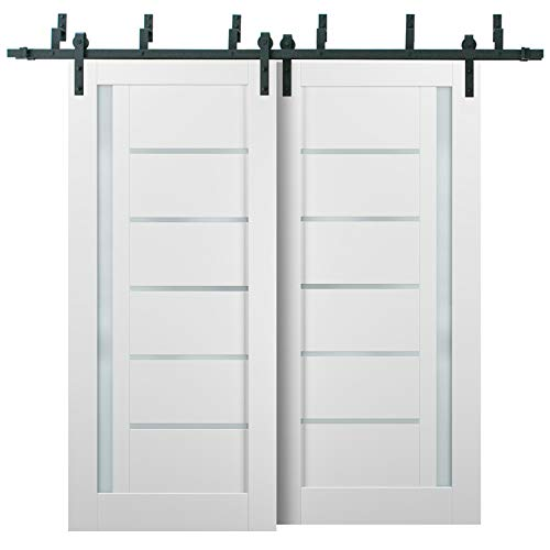 Barn Bypass Doors 84 x 96 with 6.6ft Hardware   Quadro 4088 White Silk with Frosted Opaque Glass   Sturdy Heavy Duty…