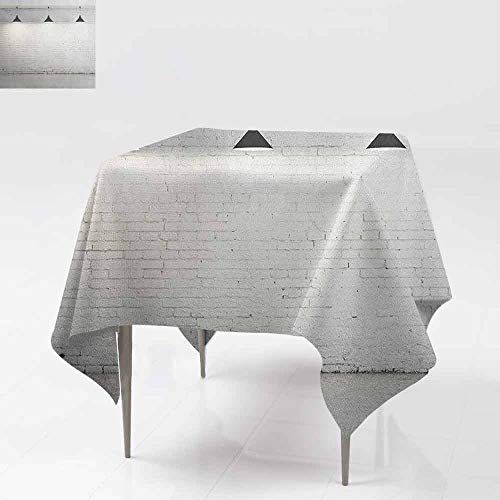 AndyTours Stain Square Tablecloth,Abstract,Brickwork Concrete Room with Three Ceiling Lamps Modern Minimalistic Design,Table Cover for Dining,50x50 Inch Black and White