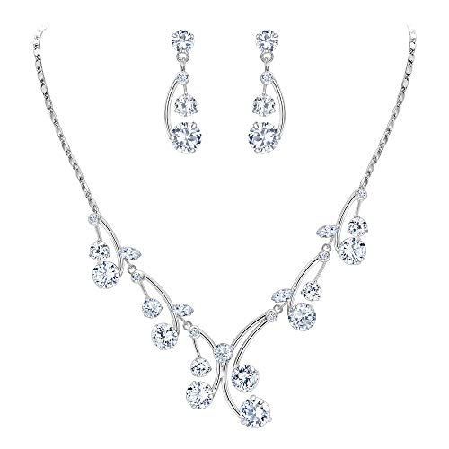 EleQueen Women's Cubic Zirconia Filigree Flower Bridal Necklace Earrings Jewelry Set Silver-Tone Clear (Special Jewelry Sets Occasion)