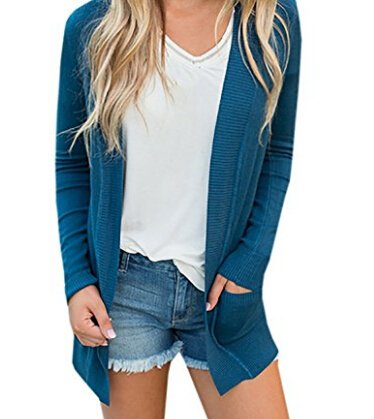 Womens Cardigans Casual Open Front Long Boyfriend Sweaters Lightweight Knit Cardigan with Pockets (Cardigan Sweater Juniors)