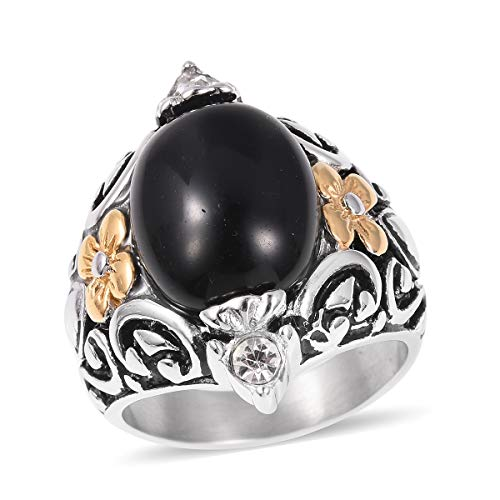 Shop LC Delivering Joy Black Oxidized ION Plated Yellow Gold Dyed Black Agate White Crystal Statement Ring for Women .25 ()