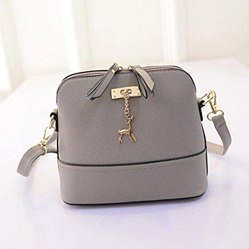 Lenfesh - Bolso mochila  de Piel Sintética para mujer gris