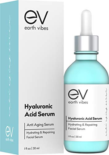 Earth Vibes Hyaluronic Acid Serum - Ultimate Hydrating Serum, Wrinkle Filler and Natural Plumper. Experience Intense Moisture, Hydration and Anti Wrinkle Serum Benefits, Cruelty Free (1oz/30ml)