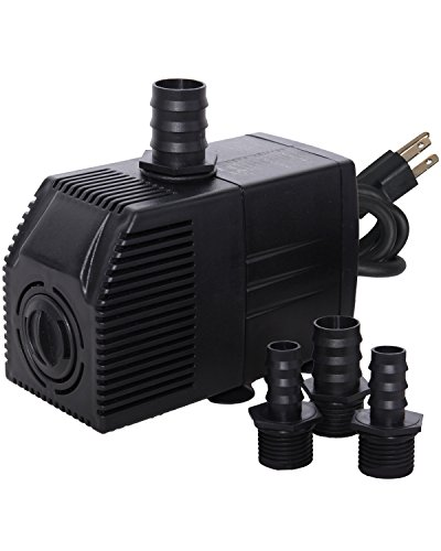 - Simple Deluxe 290 GPH UL Listed Submersible Pump with 6' Cord, Water Pump for Fish Tank, Hydroponics, Aquaponics, Fountains, Ponds, Statuary, Aquariums & Inline
