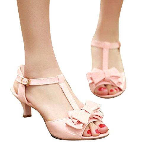 Carolbar Donna Fibbia A Punta T-strap Archi Stiletti Scarpe Da Ballo Sandali Latini Rosa