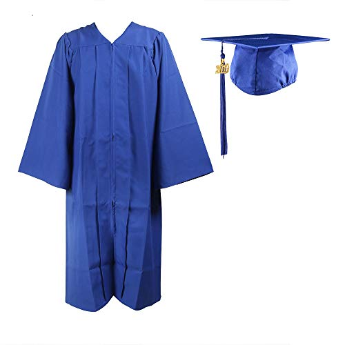 COKOSIM Unisex Adult's Matte Graduation Gown Cap Tassel Set 2019 for High School and College Ceremony,Royal Blue Size 48 -