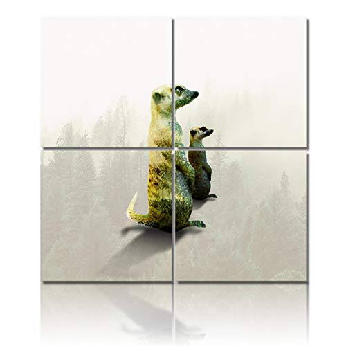4 Piece Canvas Painting Wall Art Decor,Double Exposure of Two Standing Meerkats Modern HD Pictures Artwork Canvas Prints Giclee Art for Home/Office/Kitchen Framed Ready to Hang 12x12Inch x4Panels