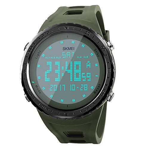 Men's Digital Sports Watch Large Numbers Waterproof Stopwatch Countdown LED Military Wristwatches for Men (Army Green)