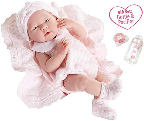 "3 Rattles 3 Bottles Lot For 4""-6"" Reborn Baby Dolls Pink Pretend Play"