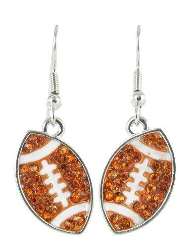 - Flat Football Rhinestone Fish Hook Earrings - Light Orange Crystals with White Enamel Stripes