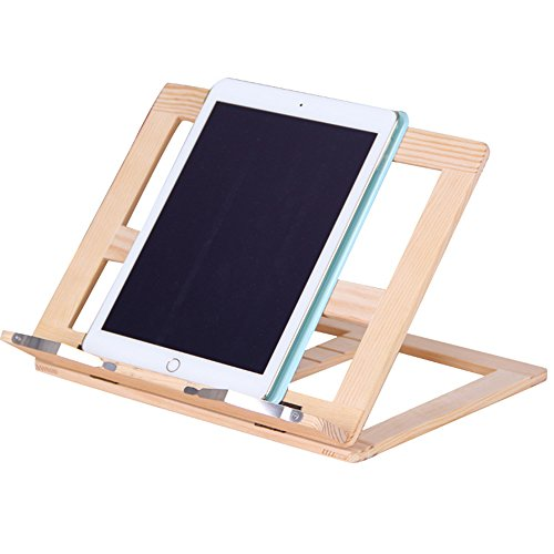 Multi-function wooden book stand portable folding cookbook stand,book holders for reading and ipad holder with 4 Adjustable Positions by Star Jiajie