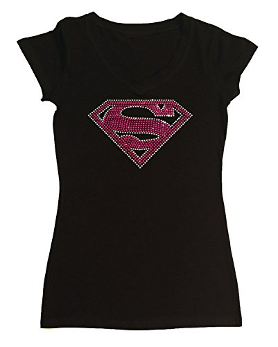 RhinestoneSuperstore Women's T-Shirt With Pink Supergirl In Rhinestones (Large, Black Cap Sleeve) ()