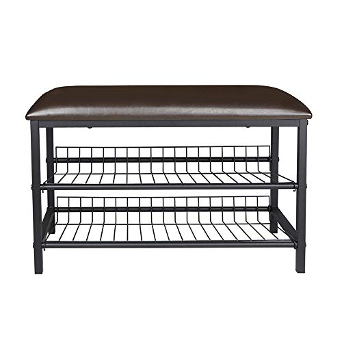 Bench Leather 2 Drawer - TOYEEKA Shoe Rack Bench 2 Tier Shoe Rack Storage for Entryway Living Room Bathroom Faux Leather Cushion Seat