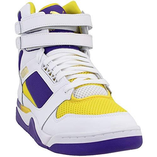 affordable PUMA Palace Guard MID Sneaker, White-Prism Violet-Dandelion, 9.5 M US