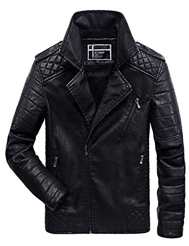 sadness n Men's Asymmetrical Zip Up Fur Lined Faux Leather Jacket(Black X-Large)