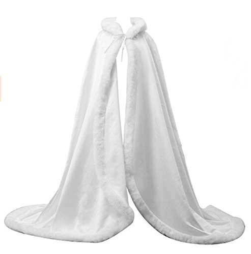 FOLOBE Faux Fur Bolero Bridal Cape Hooded Cloak Stole Floor Length Winter Fur Trim