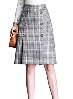 chouyatou Women's Decorative Button Front Flat Front A-Line Midi Plaid Skirt